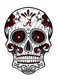 Alabama Crimson Tide Sugar Skull.  SVG Cutting file for Cricut Explore or Cameo (Designer Edition) Great for shirts. Easy cut and layering by CuttinUpGifts on Etsy