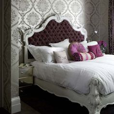 purple & gray bed room - so glamorous