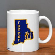 Rhode Island Runner Ceramic Mug - Show off your pride for Rhode Island with this great Rhode Island Runner Ceramic Coffee Mug.