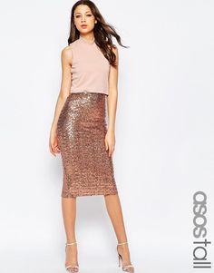 ASOS Tall | ASOS TALL Crop Top Midi Sequin Skirt Body-Conscious Dress at ASOS