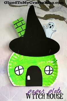 october crafts for kids Wickedly Easy - Paper Plate Witch House Craft For Kids Wickedly Easy Paper Plate Witch House Craft For Kids To Mak Halloween Crafts For Toddlers, Halloween Arts And Crafts, Fall Crafts For Kids, Toddler Crafts, Holiday Crafts, Art For Kids, Halloween Plates, Kid Art, Spring Crafts