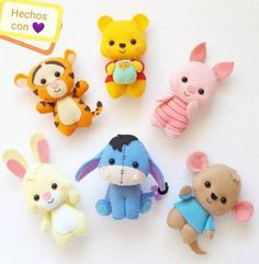 Easy DIY Felt Crafts, Felt Crafts Patterns and Easy Felt Crafts Christmas.Winnie the pooh and friendsMaking Cuties – Molds and Handouts – Timart Fimo Disney, Polymer Clay Disney, Cute Polymer Clay, Cute Clay, Polymer Clay Crafts, Disney Crafts, Felt Crafts Diy, Cute Crafts, Felt Christmas Ornaments