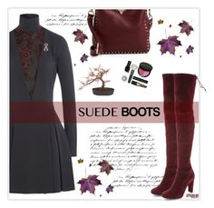 """""""Style Staple: Suede Boots"""" by marion-fashionista-diva-miller ❤ liked on Polyvore featuring Just Cavalli, Stuart Weitzman, Valentino, Once Upon a Time, Nearly Natural, Bobbi Brown Cosmetics, fallfashion and suedeboots"""