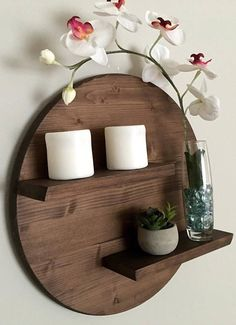 Round Wooden Shelf Two Tier 17 House Plants Decor, Plant Decor, Shelf Design, Wall Design, Diy Bedroom Decor, Diy Home Decor, Wood Home Decor, Decor Room, Woodworking Projects Diy