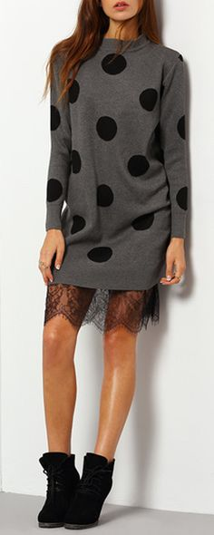 New design at romwe.com. Polka Dot Lace Sweater Dress for sale now!Click for shopping!