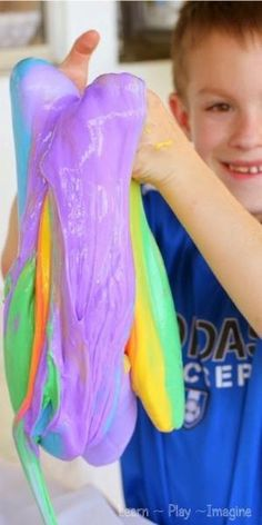 How to make rainbow slime - so much fun! by april