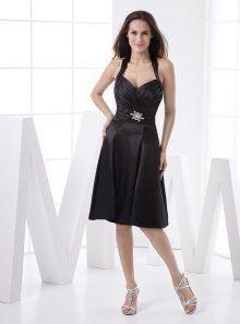 Sweet Black Satin Halter Womens Little Black Dress 2 220x297