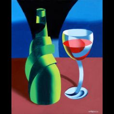 Mark Webster - Abstract Wine Bottle and Glass Still Life Oil Painting