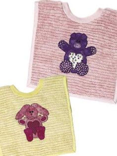 Sewing - Accessories - Baby Animals Bib Set...these are just the sweetest animal appliqués .there's  a FREE PATTERN for the appliqués;and free pattern for baby bib also!