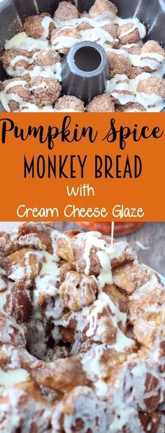 Spice Monkey Bread with Cream Cheese Glaze Pumpkin Spice Monkey Bread with Cream Cheese Glaze - soooo delicious!Pumpkin Spice Monkey Bread with Cream Cheese Glaze - soooo delicious! Thanksgiving Desserts, Fall Desserts, Delicious Desserts, Just Desserts, Yummy Food, Tasty, Health Desserts, Fall Dessert Recipes, Thanksgiving Sides
