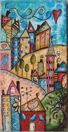 Whimsical art, home art, mixed media canvas, mixed media artwork, art journal Art Journal Inspiration, Painting Inspiration, Journal Ideas, Funky Town, Art Altéré, Wal Art, Art Populaire, Art Et Illustration, Mixed Media Canvas