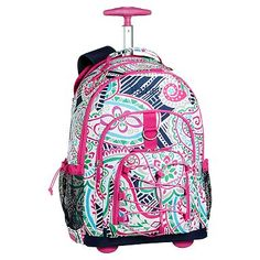 Gear Up Preppy Surf Paisley Rolling Backpack