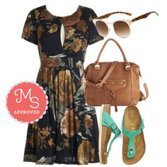 Love this except the slit in the chest of the dress... Outdoor Film Festival Dress, Golden Oldies Sunglasses, Stop at the Coffee Shop Bag, Turquoise by the Sea Sandal