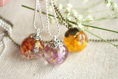 Lantana flower pendant / Resin  jewelry   https://www.etsy.com/listing/231153045/real-dried-lantana-petal-pendant-real