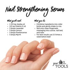 Roller Bottles If you struggle with dry, brittle nails or if you just want your nails to grow longer and stronger, try this DIY Nail Strengthening recipe! Essential Oil Uses, Doterra Essential Oils, Young Living Essential Oils, Nail Care Tips, Nail Oil, Brittle Nails, Manicure Y Pedicure, Strong Nails, Nail Strengthening