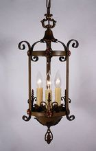 Handsome Antique Spanish Revival Three-Light Pendant with Original Polychrome Finish.