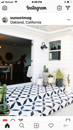 outdoor patio steps with our xtra credit pattern. Porch Tile, Patio Tiles, Outdoor Tiles Patio, Outdoor Patterned Tiles, Terrace Tiles, Cement Tiles, Concrete Patios, Painted Patio Concrete, Stenciled Concrete Floor
