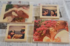 DIY Photo Transfers to Wood- use sandpaper around the edges afterwards to add character