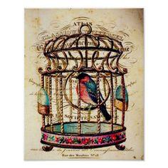 french vintage art prints | vintage_birdcage_french_paper_art_print ...