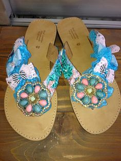 handmade sandals with rhinestones appliques,pink lace and light blue lace,bows,and pearls Summer Sandals, Palm Beach Sandals, Lace Bows, Pink Lace, Jack Rogers, Appliques, Rhinestones, Light Blue, Pearls