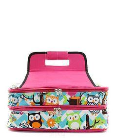 Owl Aqua Pink Insulated Casserole Carrier Bag