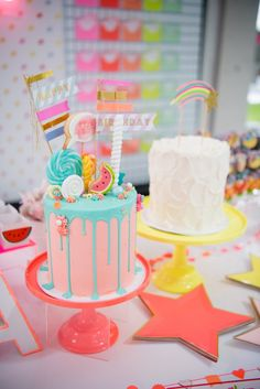 Cakes From A Pastel Neon Teen Birthday Party On Karas Ideas