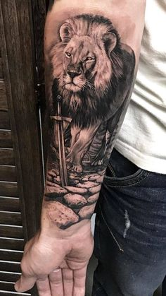 Walking male lion and sword arm tattoo - Tattoo ideen - tattoos Wolf Tattoos, Lion Forearm Tattoos, Lion Head Tattoos, Mens Lion Tattoo, Forarm Tattoos, Tiger Tattoo, Leg Tattoos, Body Art Tattoos, Tattoos Of Lions