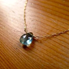 Deep Water Pendant - Simple Blue Moss Aquamarine Necklace and 14K Gold Filled Chain