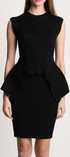 Black Knit Sleeveless Peplum Top and Skirt Set