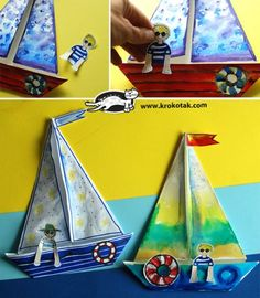 children activities, more than 2000 coloring pages Boat Crafts, Ocean Crafts, Summer Crafts, Crafts For Kids, Easy Paper Crafts, Art N Craft, Art Plastique, Elementary Art, Oeuvre D'art