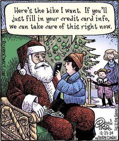Piraro, Dan Santa Dealing w Century (Bizarro Comics) Funny Christmas Cartoons, Christmas Jokes, Funny Cartoons, Funny Comics, Christmas Fun, Funny Jokes, Hilarious, Christmas Comics, Christmas Doodles