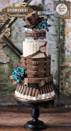 Fascinating Steampunk, Gothic and Cute cakes from Sweetlake Cakes Fancy Cakes, Cute Cakes, Pretty Cakes, Pink Cakes, Halloween Wedding Cakes, Halloween Cakes, Creative Wedding Cakes, Creative Cakes, Take The Cake