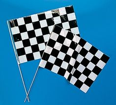 Black & White Checkered Flags - Large.  Make your next birthday party a winner with these checkered flags! With a traditional black and white checkered design, these racing flags will fit right in with a speedway theme. Racing flags are a great way to decorate tables or pathways. Each 40.6 cm x 27.9 cm plastic flag comes on a 53.3 cm wooden stick.