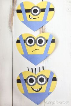 Adorable Minion Valentine's Day Hearts | Join the Minion craze with cute little Minion crafts that make the perfect Valentines for all of your child's friends.