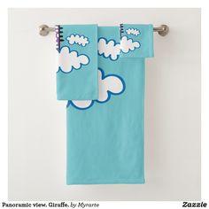 Panoramic view. Giraffe. Producto disponible en tienda Zazzle. Product available in Zazzle store. Bath Towel Set. Regalos, Gifts. #bath #towel #set