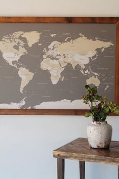 Framed Modern World Map • World Push Pin Travel Map in Wood Frame 24x36 • Anniversary Gift • Valentines Day Romantic Gift for Him Her