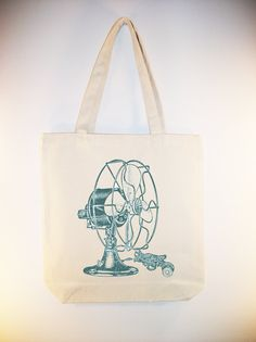 I just listed Awesome Vintage Electric Fan on 15x15 Canvas Tote - Larger zip top tote style available - image in ANY COLOR on The CraftStar #thecraftstar #uniquegifts