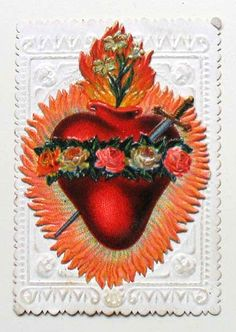 Superbig, beautiful, ex voto sacred heart of jesus wounded, two . Jesus Tattoo, Religious Images, Religious Art, Kitsch, The Magic Faraway Tree, Sacred Heart Tattoos, Jesus E Maria, Vintage Holy Cards, Blessed Mother Mary