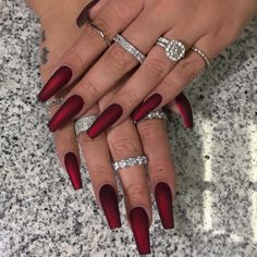 There are three kinds of fake nails which all come from the family of plastics. Acrylic nails are a liquid and powder mix. They are mixed in front of you and then they are brushed onto your nails and shaped. These nails are air dried. Coffin Nails Matte, Red Acrylic Nails, Red Matte Nails, Red Glitter Nails, Red Chrome Nails, Dark Red Nails, Cute Nails, Pretty Nails, My Nails