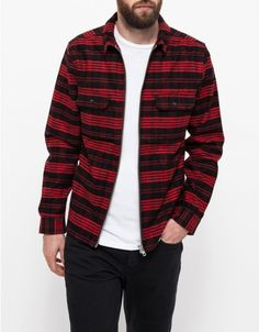 Brushed cotton flannel zip front overskirt from Topman. Features a boxy, top-layer fit for easy layering, two front button flap pockets, and a contrast heavy duty YKK zipper.   •Brushed cotton flannel overshirt •Buttonf lap pockets •Straight hem