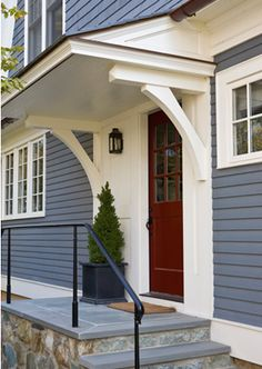 Overhang on front door Side Door Detail Shingle Style Entryway Front Facade by Anne Decker Architects Door Overhang, Front Door Overhang, House, House Front, House Exterior, New Homes, Front Door, Porch Roof, Portico