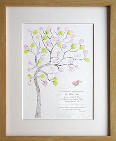 Girl Christening, baptism, naming day, baby girl, fingerprint tree, diy baby room decor, custom birth details, A4 print