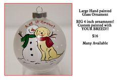 Custom painted Dog and Snowman ornament by JennysDogArt on Etsy, $16.00
