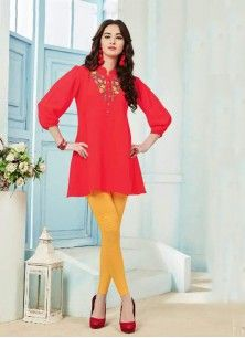 Blood Red Color Faux Georgette Embroidered Collar Neck Women's Tunic