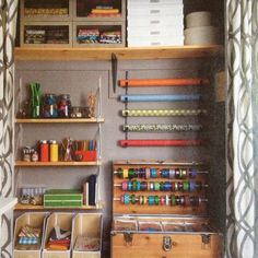 In Real Simple's April 2012 issue Jess Maurus' home office gets a makeover. Shown here is her newly organized craft closet which uses curtains instead of doors. Room Makeover, Organization, Home Organization, Room, Home Projects, Closet Transformation, Space Crafts, Home Diy, Storage