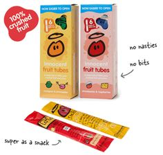Fruit tubes for kids: 6 tubes full of pure crushed fruit and juice Innocent Drinks, 100 Pure, Lemonade, Juice, The 100, Snacks, Pure Products, Fruit, Bottle