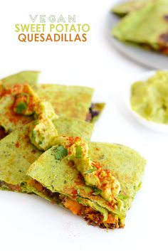 Make these cheese-free vegan sweet potato quesadillas that are packed with protein and flavor and topped with a delicious cilantro avocado spread!