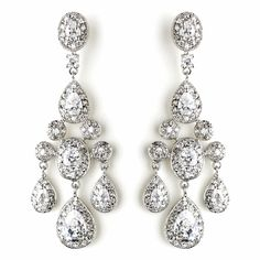 Glamorous Antique Silver CZ Crystal Wedding Chandelier Earrings for your regal wedding! - Affordable Elegance Bridal -
