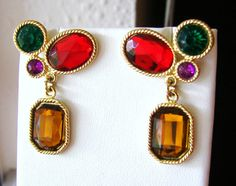 Vintage dangling gold cocktail earrings with red, green, purple and caramel brown jewels- christmas- holiday- december- jewel