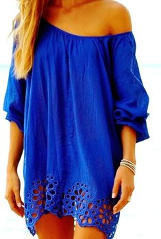 Adorable Off Shoulder Blue Lace Dress...I would wear as an oversized dress with leggings